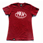 ABUV - Womens Tag Tee Burgundy/White