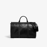 Men's Black Leather With Black Airport Code Garment Weekender Bag
