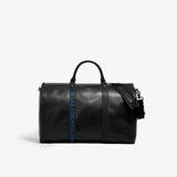 Men's Black Leather With Blue Airport Code Garment Weekender Bag