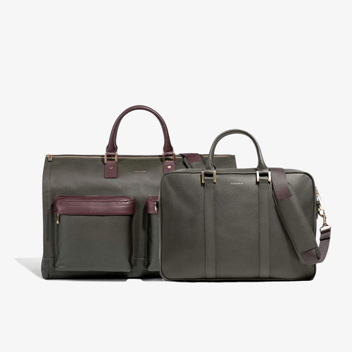 Men's Olive Leather Garment Weekender + Laptop Briefcase