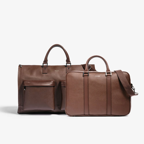 Men's Brown Leather Garment Weekender + Laptop Briefcase