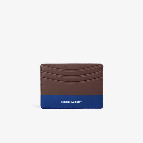 Brown Leather Card Holder with Navy Color Dip