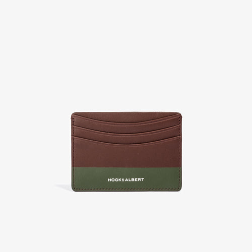 Brown Leather Card Holder with Olive Color Dip