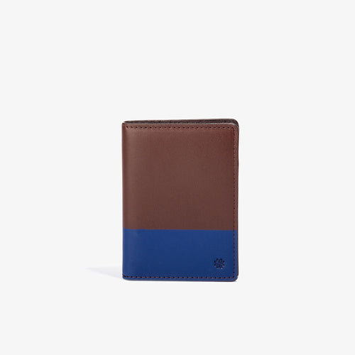 Brown Leather Vertical BiFold with Navy Color Dip