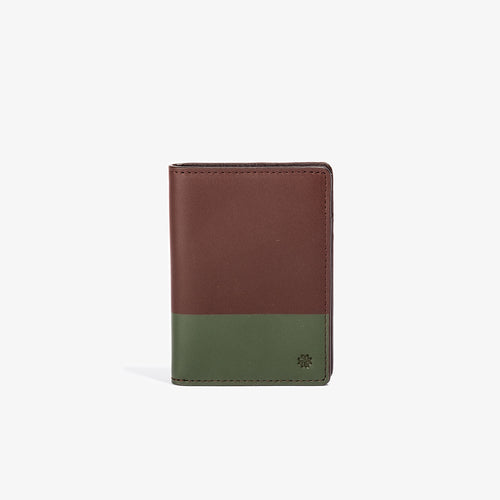 Brown Leather Vertical BiFold with Olive Color Dip