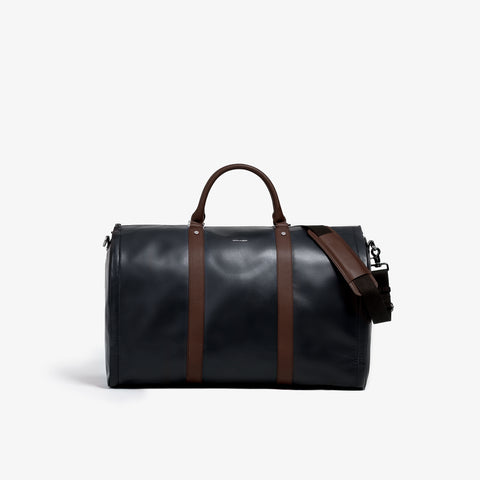 Men's Black and Brown Garment Weekender Bag
