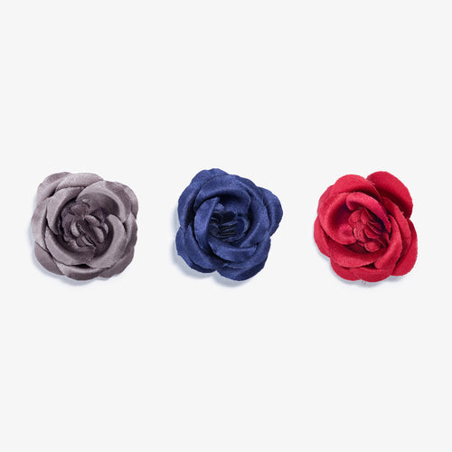 Large Buttercup Lapel Flower 3 Pack - Gray, Navy, Red