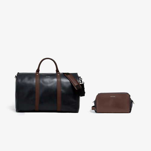 Men's Black and Brown Leather Garment Weekender + Dopp Kit
