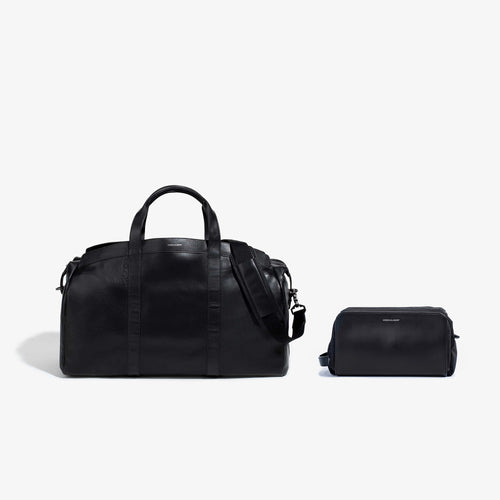 Black Leather Getaway Duffel + Dopp Kit