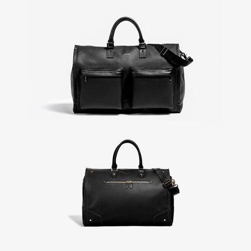His & Hers Garment Weekender Bundle - Men's Black Leather + Women's Black Leather with Gold Hardware