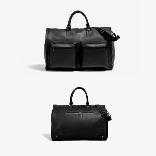 His & Hers Garment Weekender Bundle - Men's Black Leather + Women's Black Leather with Gunmetal Hardware