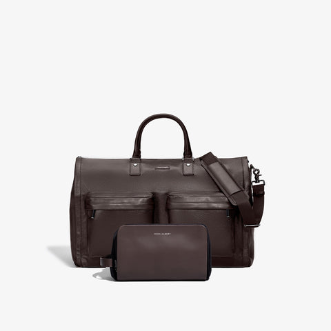Men's Brown Leather Garment Weekender + Dopp Kit