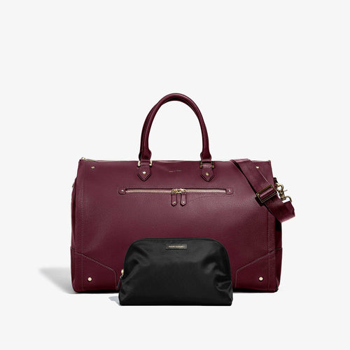 Toiletry Bag + Women's Bordeaux Leather with Gold Hardware Weekender Bag
