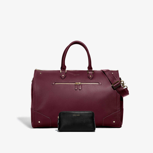 Cosmetic Traveler + Women's Bordeaux Leather with Gold Hardware Weekender Bag