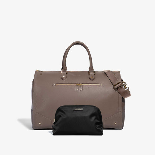 Toiletry Bag + Women's Taupe Leather Weekender Bag