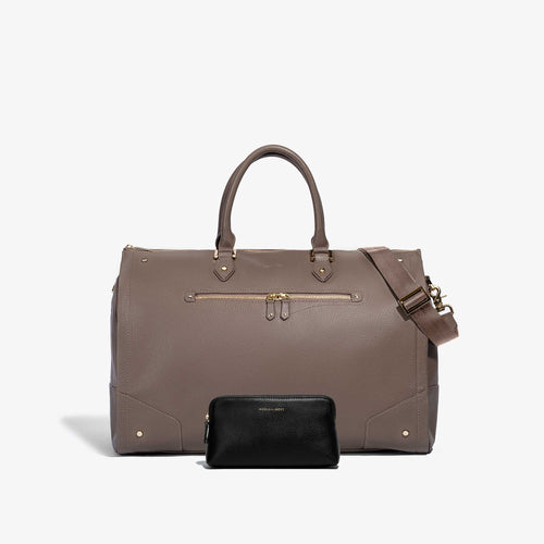 Cosmetic Traveler + Women's Taupe Leather Weekender Bag