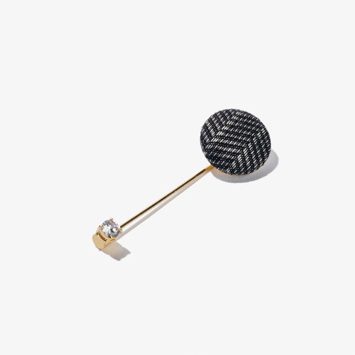 Black & White Herringbone Metal Stick Pin