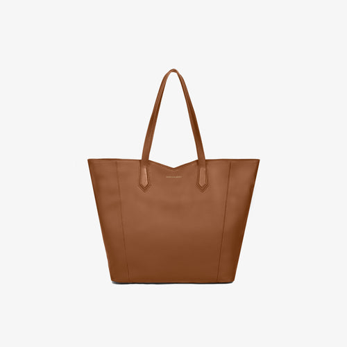 Caramel Leather Zippered Tote Bag