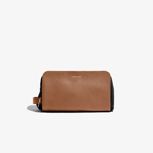Camel Leather Travel Dopp Kit
