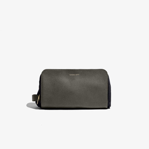 Olive Leather Travel Dopp Kit