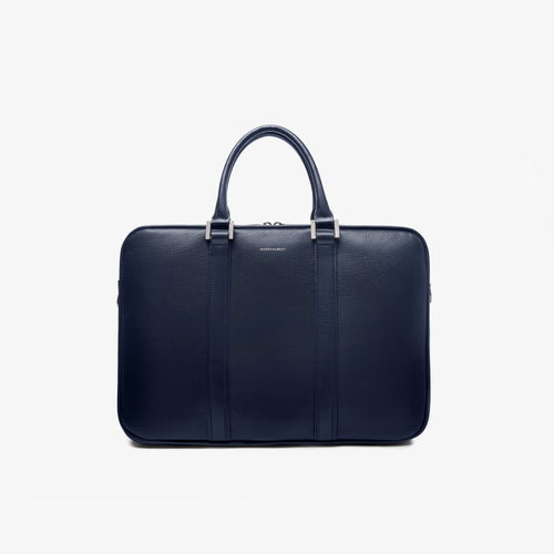 Navy Leather Laptop Briefcase