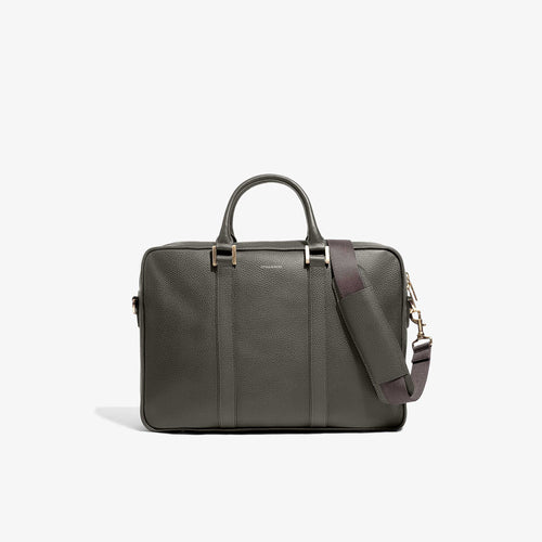 Olive Leather Laptop Briefcase