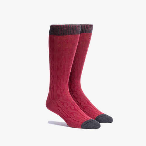 Red Cable Knit Dress Socks