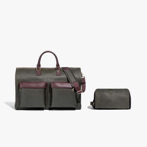 Men's Olive Leather Garment Weekender + Dopp Kit