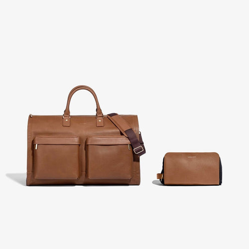 Men's Camel Leather Garment Weekender + Dopp Kit