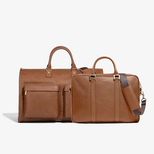 Men's Camel Leather Garment Weekender + Laptop Briefcase