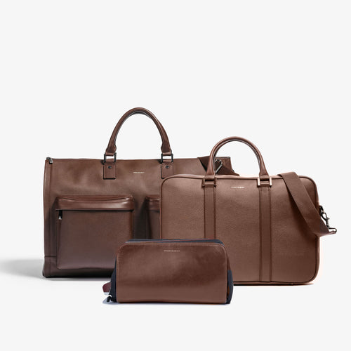 Men's Brown Leather Garment Weekender + Dopp Kit + Laptop Briefcase