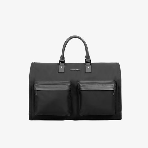 Men's Black Nylon Twill Garment Weekender Bag