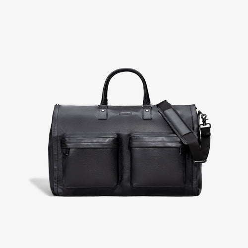 Men's Black Leather Garment Weekender Bag - Sample Sale