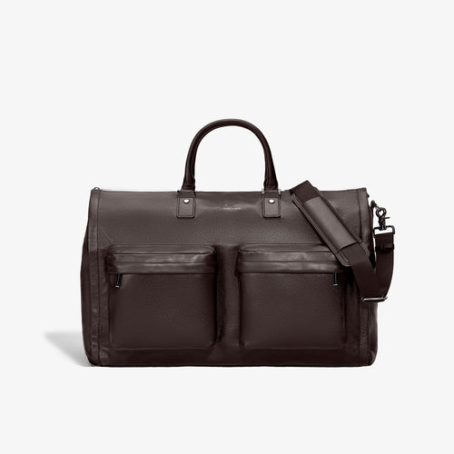 Men's Brown Leather Garment Weekender Bag