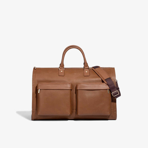 Men's Camel Leather Garment Weekender Bag