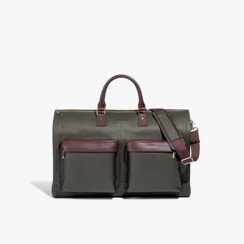 Men's Olive Leather Garment Weekender Bag