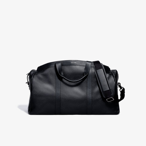 The Getaway Black Pebbled Leather Duffel