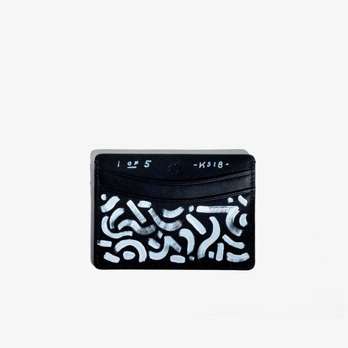 Hand Painted Black Leather Card Holder