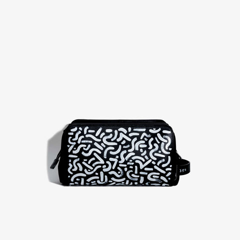 Hand Painted Black Leather Travel Dopp Kit