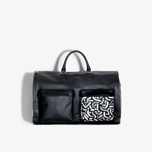 Hand Painted Black Leather Garment Weekender Bag