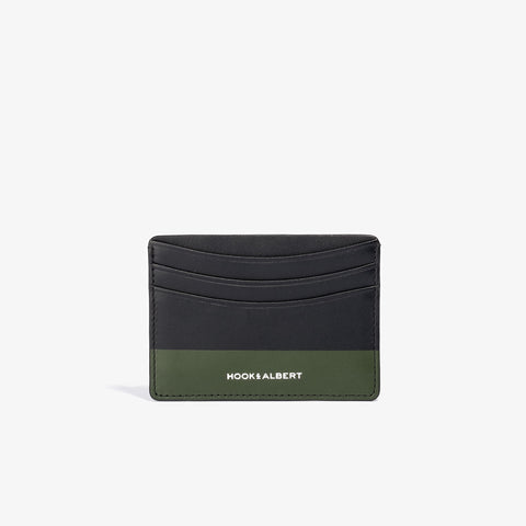 Black Leather Card Holder with Olive Color Dip