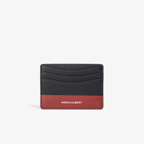 Black Leather Card Holder with Red Color Dip