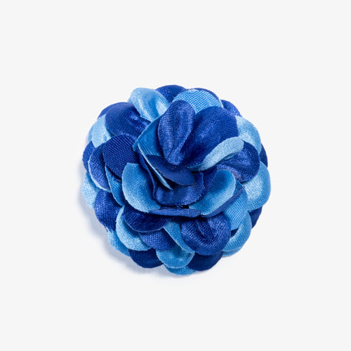Blue Two Tone Large Lapel Flower