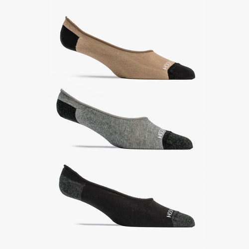 No-Show Sock 3 Pack - Black, Khaki, Gray