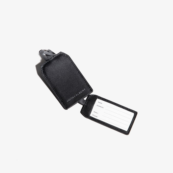 Black Leather Luggage Tag