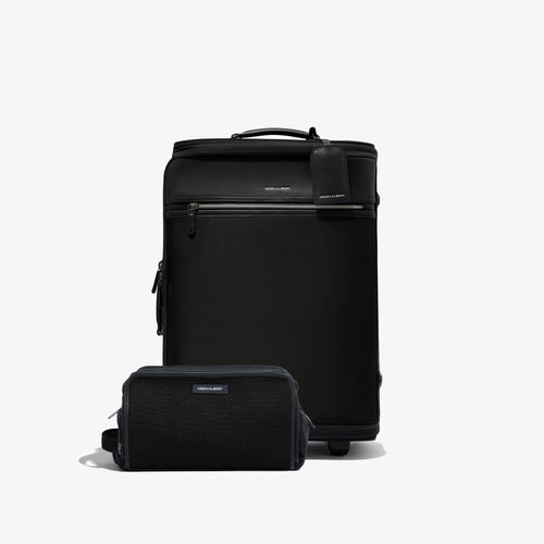 Black Garment Luggage Carry-On + Twill Dopp Kit