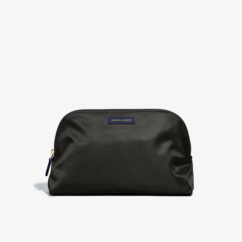 Toiletry Bag - Black Fabric with Navy Leather Trim
