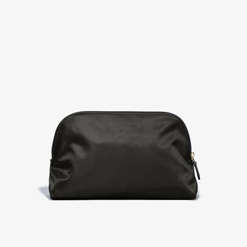 Toiletry Bag - Black Fabric with Taupe Leather Trim