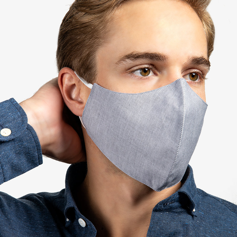 3-Layer Adult Cotton Mask In Oxford (4-Pack)