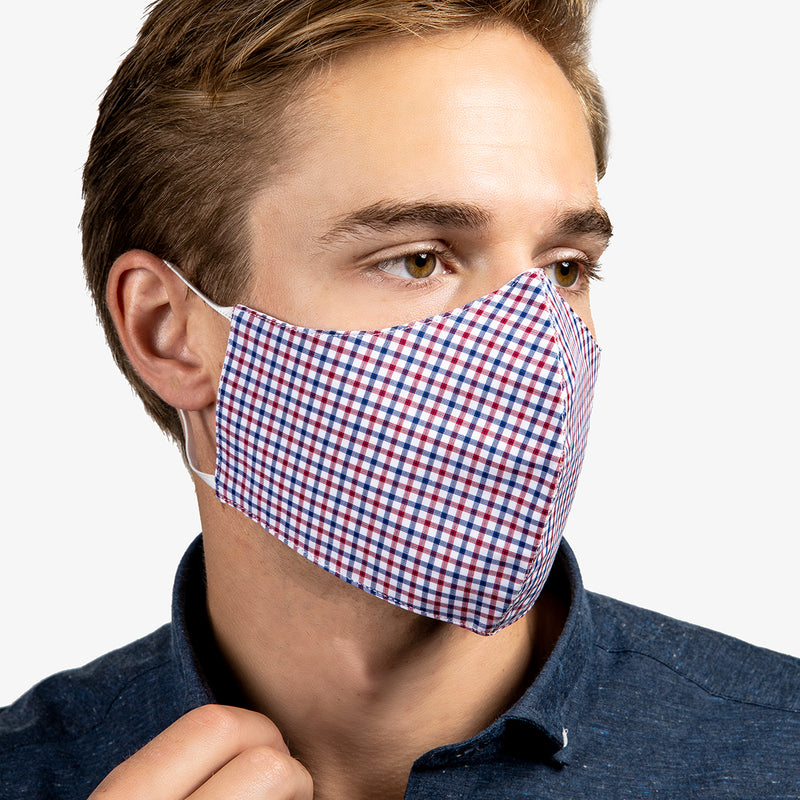 3-Layer Adult Cotton Mask In Tattersall Red (4-Pack)